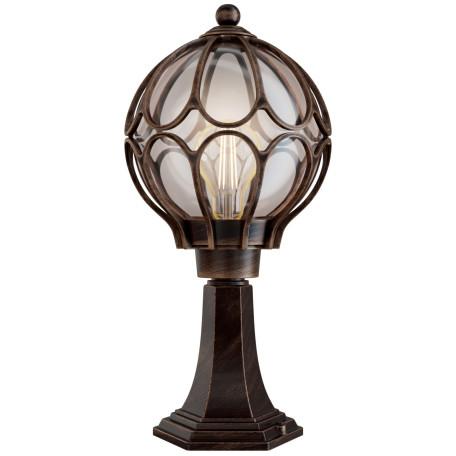 Садово-парковый светильник Maytoni Via O024FL-01G, IP65, 1xE27x100W, коричневый с золотой патиной, коричневый с янтарем, янтарь с коричневым, металл, металл со стеклом, стекло с металлом