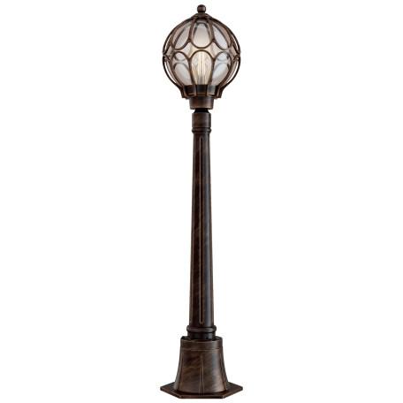 Уличный фонарь Maytoni Via O023FL-01G, IP65, 1xE27x100W, коричневый с золотой патиной, коричневый с янтарем, янтарь с коричневым, металл, металл со стеклом, стекло с металлом