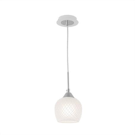 Подвесной светильник Citilux Сюзи CL171111, 1xE27x75W, белый, хром, металл, стекло, текстиль