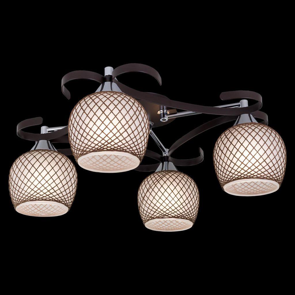 Потолочная люстра Citilux Сюзи CL171142, 4xE27x75W, венге, коричневый, металл, стекло - фото 2