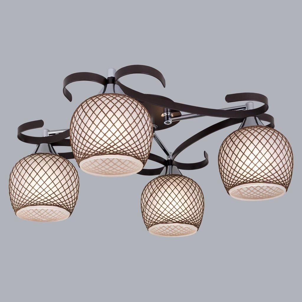 Потолочная люстра Citilux Сюзи CL171142, 4xE27x75W, венге, коричневый, металл, стекло - фото 3