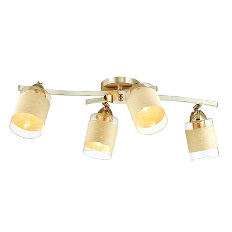 Потолочная люстра с регулировкой направления света Lumion Filla 3029/4CA, 4xE27x60W, белый с золотой патиной, бежевый, металл, стекло, текстиль