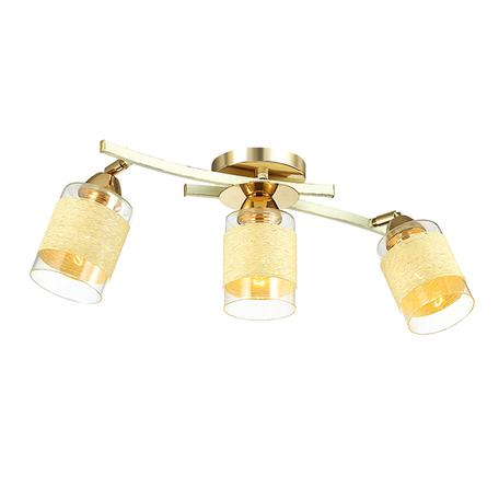Потолочный светильник с регулировкой направления света Lumion Filla 3029/3CA, 3xE27x60W, белый с золотой патиной, бежевый, металл, стекло, текстиль