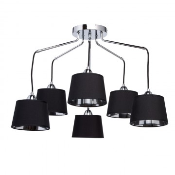 Люстра-каскад MW-Light Лацио 103011206, 6xE27x40W, хром, черный, металл, текстиль