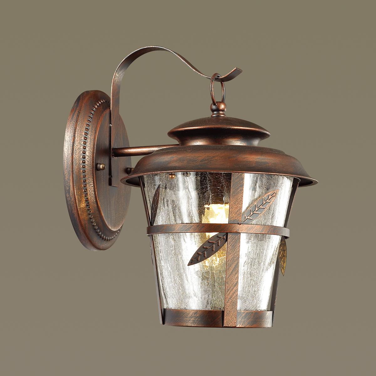 Настенный фонарь Odeon Light Aletti 4052/1W, IP44, 1xE27x60W, коричневый, прозрачный, металл, стекло - фото 1