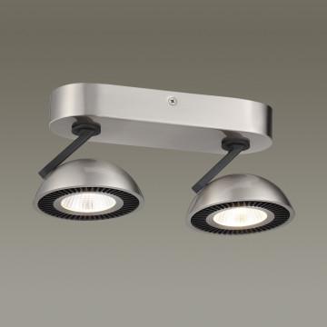Потолочный светодиодный светильник с регулировкой направления света Odeon Light Karima 3535/2CL 3000K (теплый), никель, черный, металл