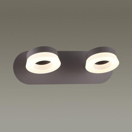 Потолочный светодиодный светильник с регулировкой направления света Odeon Light Wengelina 3537/2WL, LED 12W, 3000K (теплый), коричневый, металл, пластик