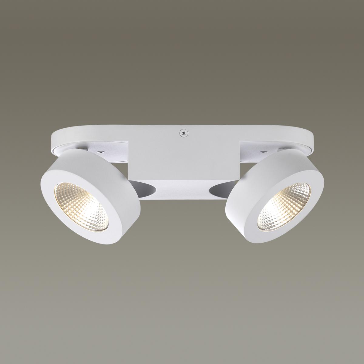 Потолочный светодиодный светильник с регулировкой направления света Odeon Light Laconis 3538/2WA 3000K (теплый), белый, металл - фото 1