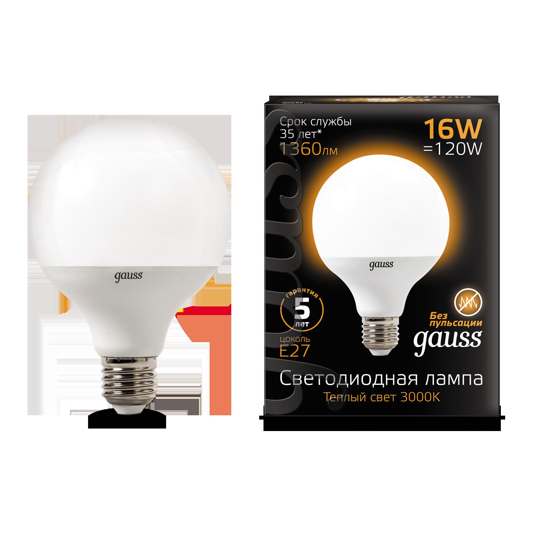 Светодиодная лампа Gauss 105102116 шар малый E27 16W, 3000K (теплый) CRI>90 150-265V, гарантия 5 лет - фото 1