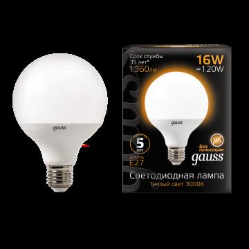 Светодиодная лампа Gauss 105102116 шар малый E27 16W, 3000K (теплый) CRI>90 150-265V, гарантия 5 лет - миниатюра 2