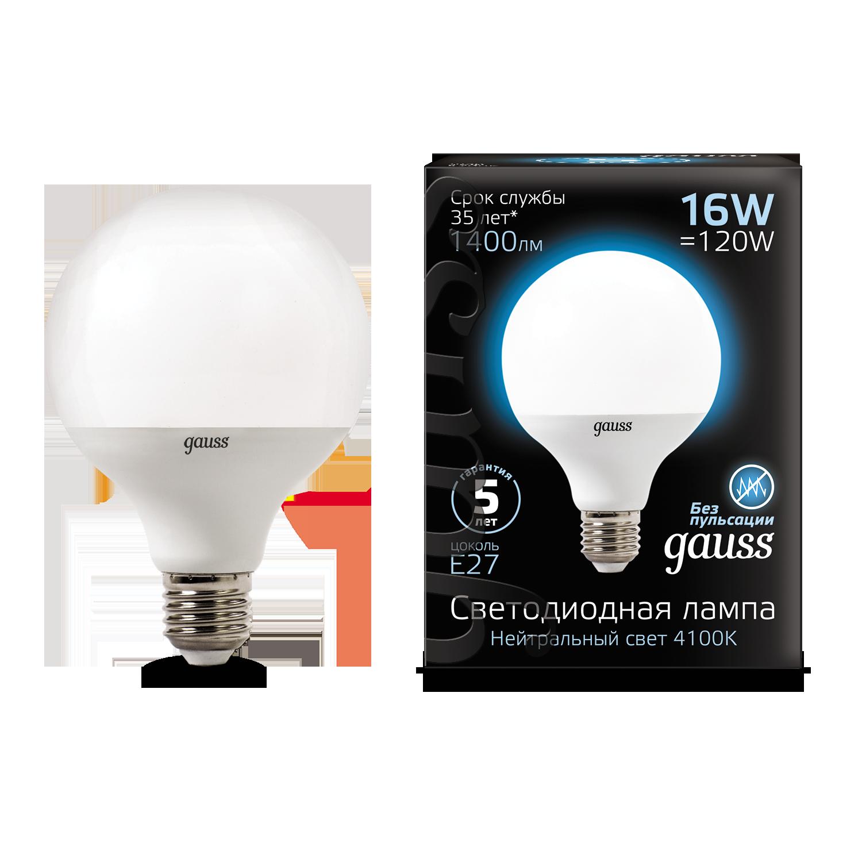 Светодиодная лампа Gauss 105102216 шар малый E27 16W, 4100K (холодный) CRI>90 150-265V, гарантия 5 лет - фото 1