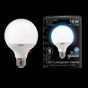 Светодиодная лампа Gauss 105102216 шар малый E27 16W, 4100K (холодный) CRI>90 150-265V, гарантия 5 лет - миниатюра 2