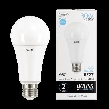 Светодиодная лампа Gauss Elementary 73239 груша E27 30W, 6500K (холодный) CRI>80 180-240V, гарантия 2 года