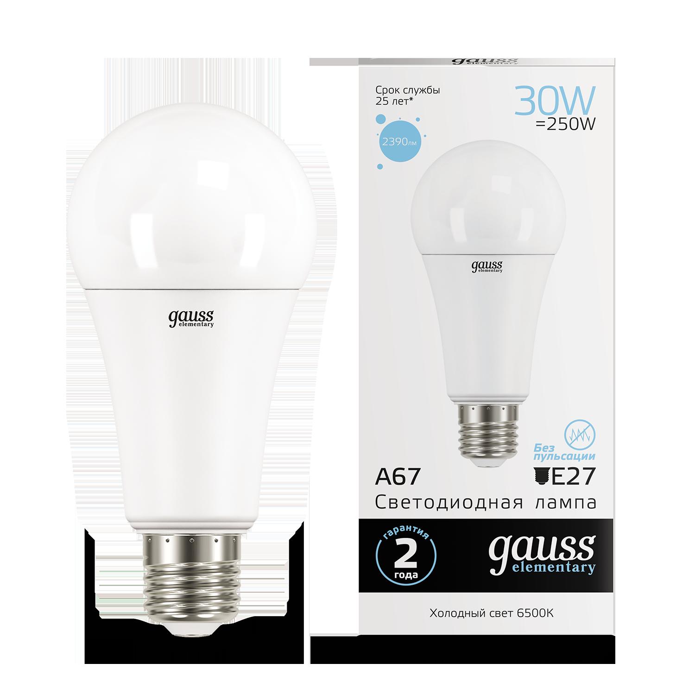 Светодиодная лампа Gauss Elementary 73239 груша E27 30W, 6500K (холодный) CRI>80 180-240V, гарантия 2 года - фото 1