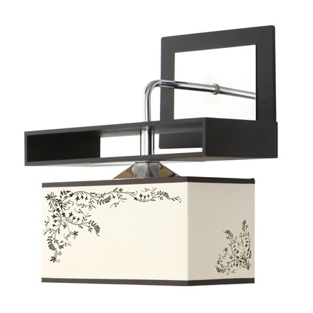 Бра Nowodvorski Alicante 4824, 1xE27x60W, черный, бежевый, коричневый, дерево, металл, текстиль