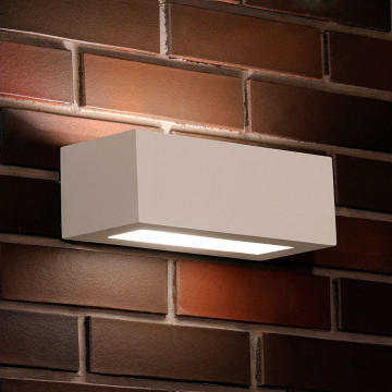 Настенный светильник Nowodvorski Gipsy Prostokat 2206, 1xE27x60W, белый, под покраску, гипс со стеклом, стекло