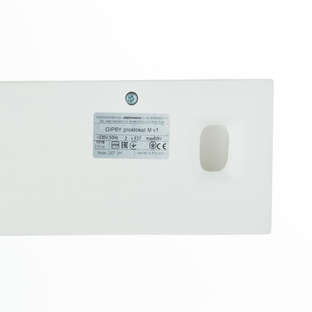 Настенный светильник Nowodvorski Gipsy Prostokat 2207, 2xE27x60W, белый, под покраску, гипс со стеклом, стекло - фото 2