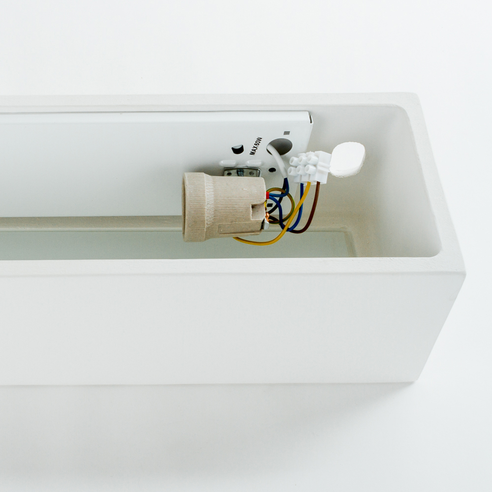 Настенный светильник Nowodvorski Gipsy Prostokat 2207, 2xE27x60W, белый, под покраску, гипс со стеклом, стекло - фото 4