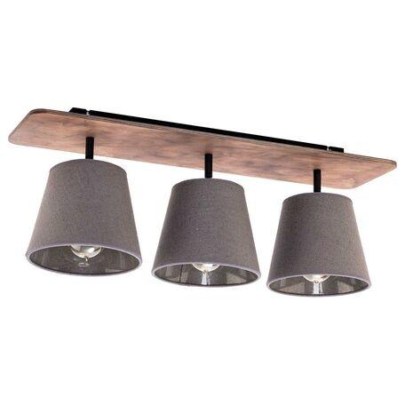 Потолочный светильник Nowodvorski Awinion 9717, 3xE27x60W, коричневый, серый, дерево, текстиль