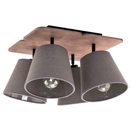 Потолочная люстра Nowodvorski Awinion 9716, 4xE27x60W, коричневый, серый, дерево, текстиль