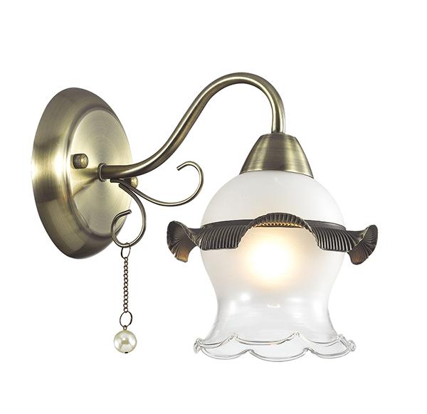 Бра Lumion Zidoni 3239/1W, 1xE14x60W, бронза, матовый, прозрачный, белый, металл, стекло, искусственный жемчуг - фото 1