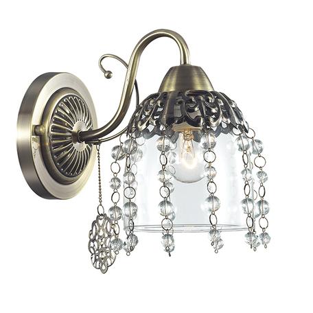 Бра Lumion Doriana 3244/1W, 1xE14x60W, бронза, прозрачный, металл, стекло, хрусталь - миниатюра 1