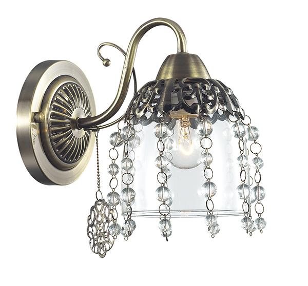 Бра Lumion Doriana 3244/1W, 1xE14x60W, бронза, прозрачный, металл, стекло, хрусталь - фото 1