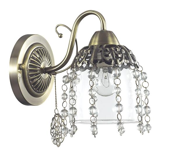 Бра Lumion Doriana 3244/1W, 1xE14x60W, бронза, прозрачный, металл, стекло, хрусталь - фото 2
