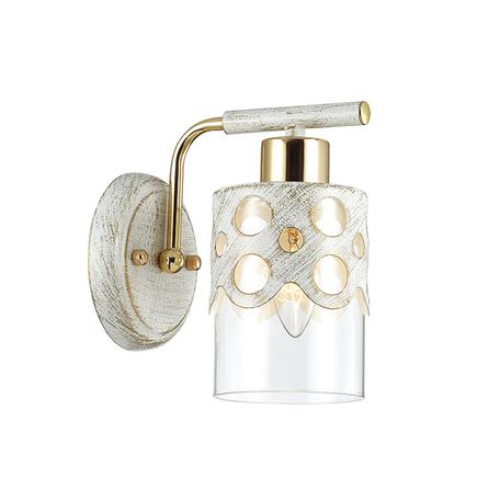 Бра Lumion Colett 3271/1W, 1xE14x60W, белый с золотой патиной, золото, прозрачный, металл, стекло