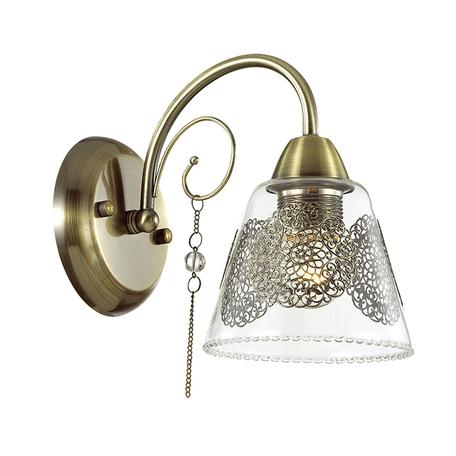 Бра Lumion Hortensa 3289/1W, 1xE27x40W, бронза, прозрачный, металл, стекло, хрусталь
