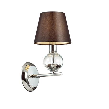 Бра Lumion Comfi Franketta 3416/1W, 1xE14x40W, хром, коричневый, металл со стеклом, текстиль