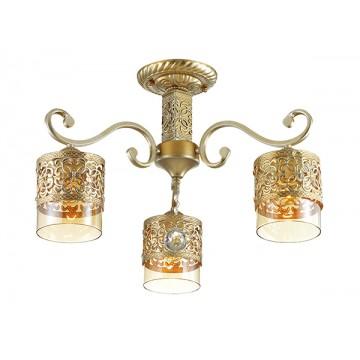 Потолочная люстра Lumion Zarlina 3286/3C, 3xE27x40W, золото, янтарь, прозрачный, металл, стекло