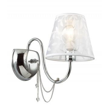 Бра Lumion Felikina 3307/1W, 1xE14x40W, хром, белый, прозрачный, металл, текстиль, хрусталь