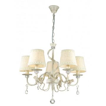 Подвесная люстра Lumion Freri 3404/5, 5xE14x40W, белый с золотой патиной, прозрачный, бежевый, металл, стекло, текстиль, хрусталь
