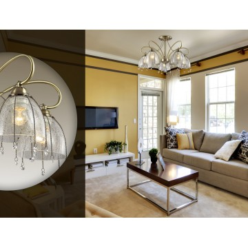Потолочная люстра Lumion Arletta 3414/5C, 5xE14x40W, бронза, прозрачный, металл, стекло, хрусталь - миниатюра 5