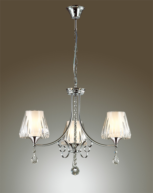 Подвесная люстра Lumion Modesta 3411/3, 3xE14x40W, хром, белый, прозрачный, металл, пластик, хрусталь - фото 3