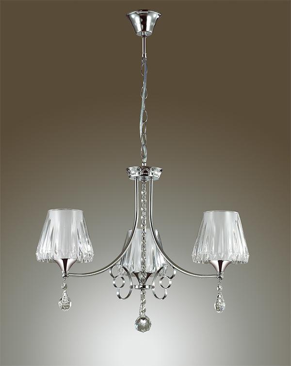 Подвесная люстра Lumion Modesta 3411/3, 3xE14x40W, хром, белый, прозрачный, металл, пластик, хрусталь - фото 4