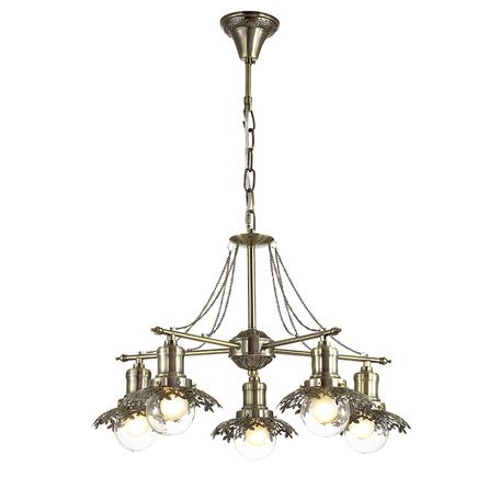Подвесная люстра Lumion Adelarda 3468/5, 5xE14x40W, бронза, прозрачный, металл, стекло