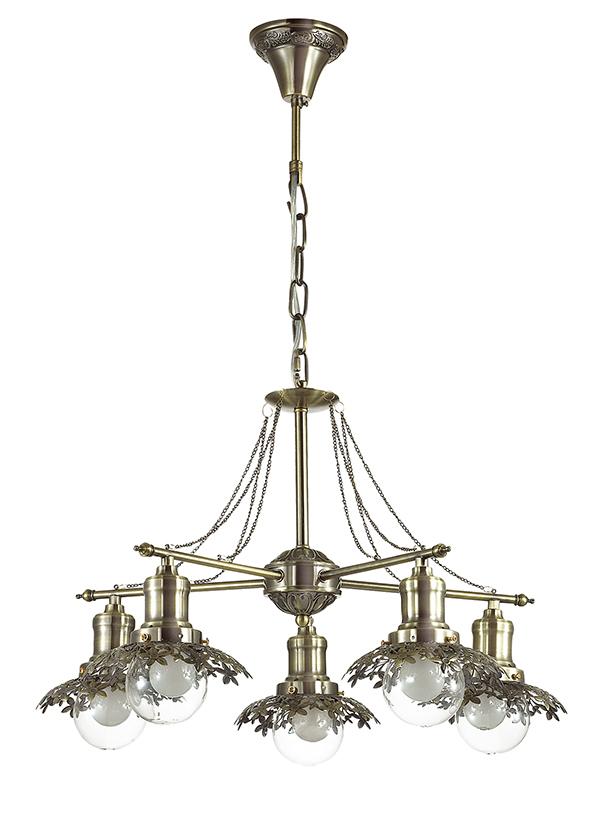 Подвесная люстра Lumion Adelarda 3468/5, 5xE14x40W, бронза, прозрачный, металл, стекло - фото 2