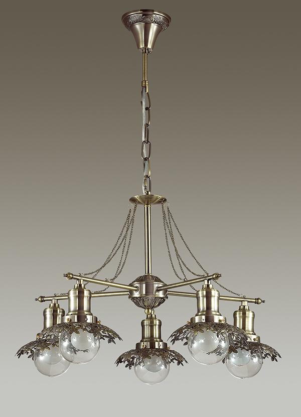 Подвесная люстра Lumion Adelarda 3468/5, 5xE14x40W, бронза, прозрачный, металл, стекло - фото 4