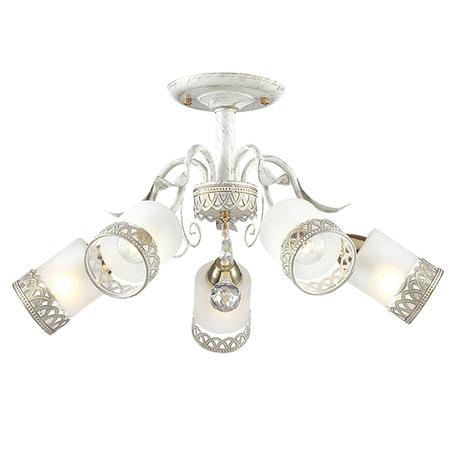 Потолочная люстра Lumion Gaetta 3237/5C, 5xE14x60W, белый с золотой патиной, белый, металл, металл со стеклом