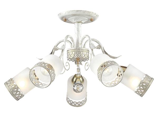 Потолочная люстра Lumion Gaetta 3237/5C, 5xE14x60W, белый с золотой патиной, золото, матовый, прозрачный, металл, стекло - фото 1