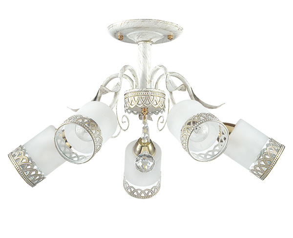 Потолочная люстра Lumion Gaetta 3237/5C, 5xE14x60W, белый с золотой патиной, золото, матовый, прозрачный, металл, стекло - фото 2
