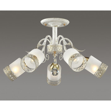 Потолочная люстра Lumion Gaetta 3237/5C, 5xE14x60W, белый с золотой патиной, золото, матовый, прозрачный, металл, стекло - миниатюра 3