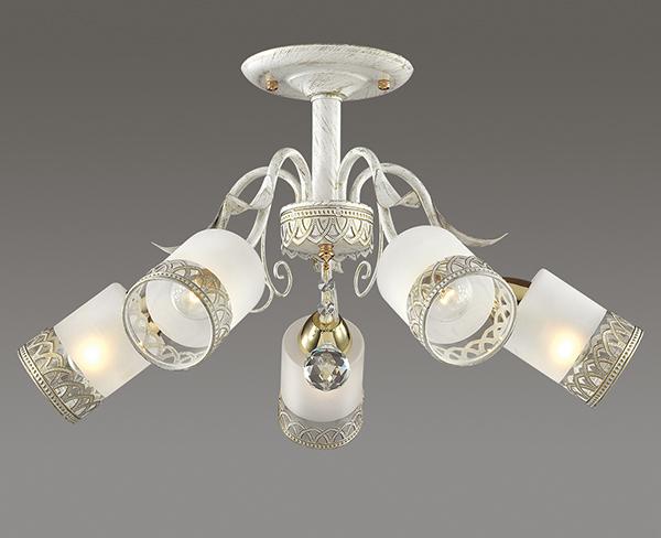 Потолочная люстра Lumion Gaetta 3237/5C, 5xE14x60W, белый с золотой патиной, золото, матовый, прозрачный, металл, стекло - фото 3