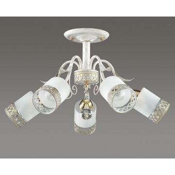 Потолочная люстра Lumion Gaetta 3237/5C, 5xE14x60W, белый с золотой патиной, золото, матовый, прозрачный, металл, стекло - миниатюра 4