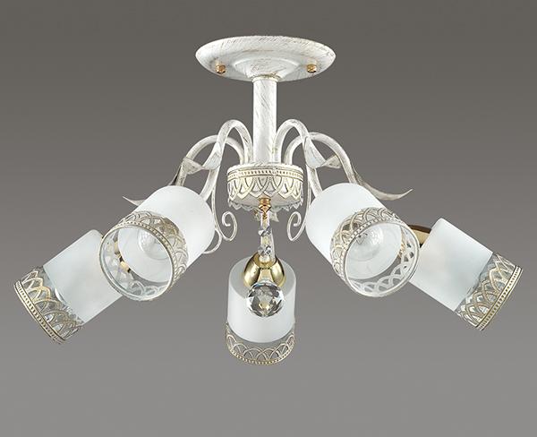 Потолочная люстра Lumion Gaetta 3237/5C, 5xE14x60W, белый с золотой патиной, золото, матовый, прозрачный, металл, стекло - фото 4
