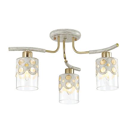 Потолочная люстра Lumion Colett 3271/3C, 3xE14x60W, белый с золотой патиной, прозрачный
