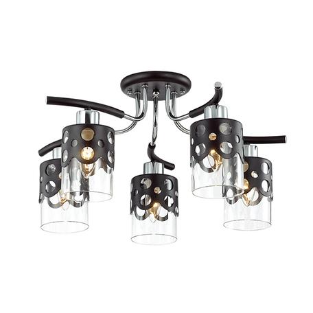 Потолочная люстра Lumion Colett 3272/5C, 5xE14x60W, венге, прозрачный, металл, металл со стеклом