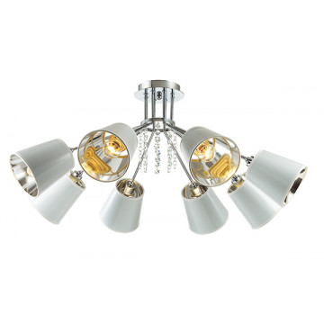 Потолочная люстра Lumion Zulienna 3314/8C, 8xE14x40W, хром, белый, прозрачный, металл, пластик, хрусталь